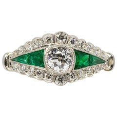 Handmade 18 Karat Gold and Platinum Diamond and Emeralds Ring