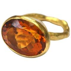Handmade 18 Karat Gold Citrine Cocktail Ring by Disa Allsopp