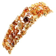 Handmade 18 Karat Gold Fancy Color Diamond Bracelet. 99 Diamonds 21.25 Carat