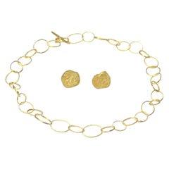 Handmade 18 Karat Gold Organic Texture Chain Necklace and Earrings Set