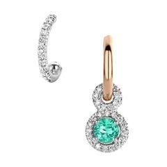Handmade 18 Karat Gold Paraïba Tourmaline Diamond Asymetric Hoop Earrings