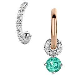 Handmade 18 Karat Gold Paraïba Tourmaline Diamond Hoop Earrings