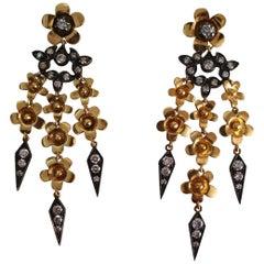 Handmade 18 Karat Gold, Silver Diamond Dangle Earrings