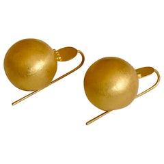 Handmade 18 Karat Solid Yellow Gold Satin Finish Hook Drop Earrings