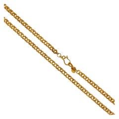 Handmade 18 Karat Solid Yellow Gold Satin Finish Link Chain Necklace