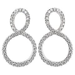 Handmade 18 Karat White Gold Pave Diamond Earrings