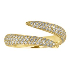 52734631a Handmade 18 Karat Yellow Gold and Diamond Double Wrap Claw Ring