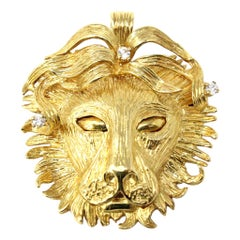 Handmade 18 Karat Yellow Gold and Diamond Lion Brooch