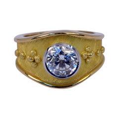 Handmade 18 Karat Yellow Gold and Platinum Bezel Set Diamond Ring