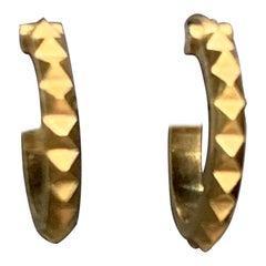 Handmade 18 Karat Yellow Gold Pyramid Hoop Earrings