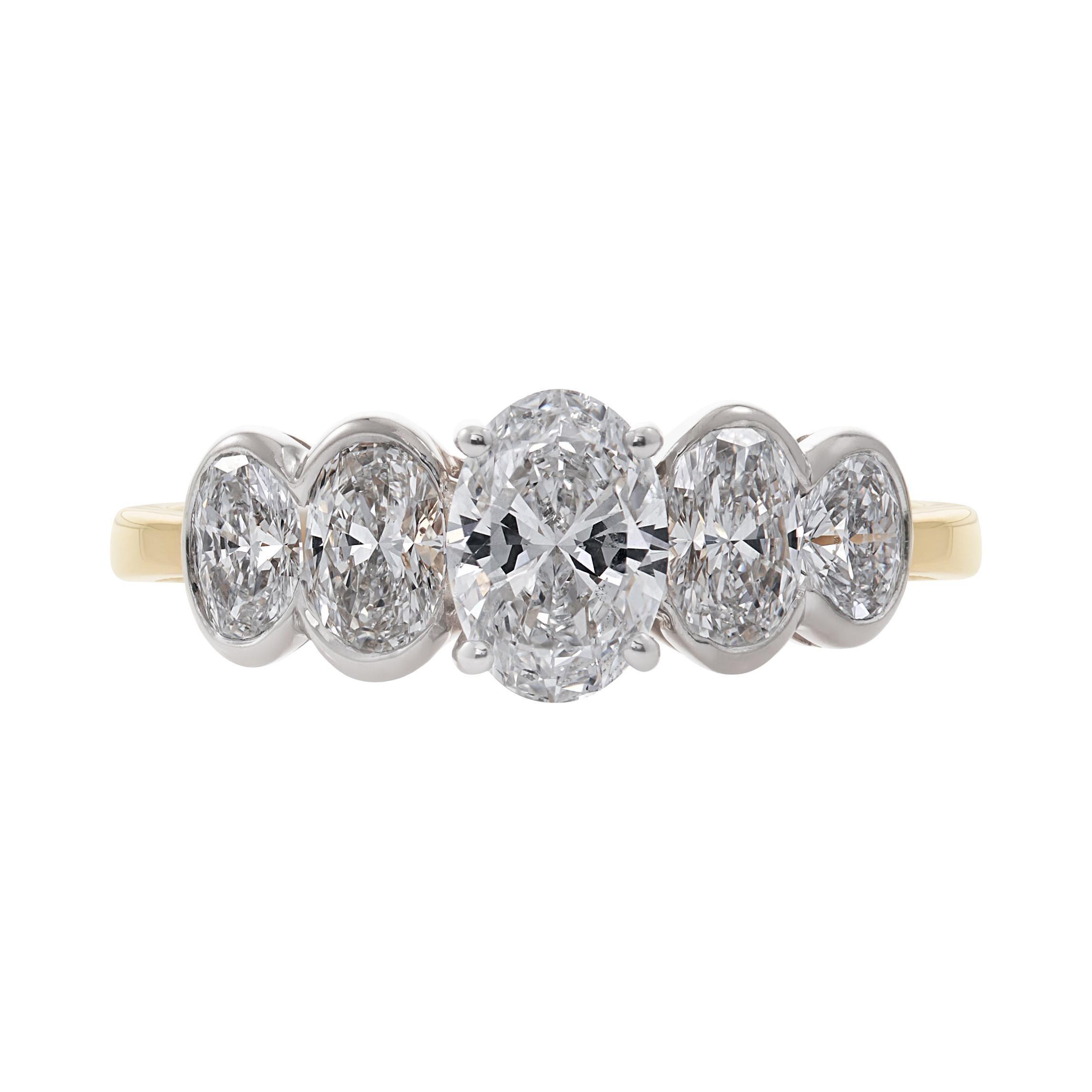Handmade 18ct Yellow Gold Five Stone Diamond Ring