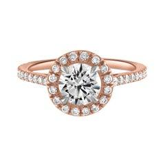 Handmade 18k Rose Gold & 0.90ct GIA Certified Diamond Surround Engagement Ring