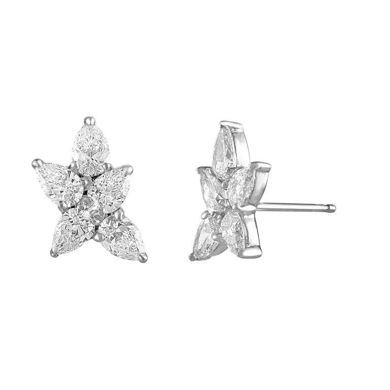 Handmade 18 Karat White Gold and 2.48 Carat Diamond Snowflake Earrings