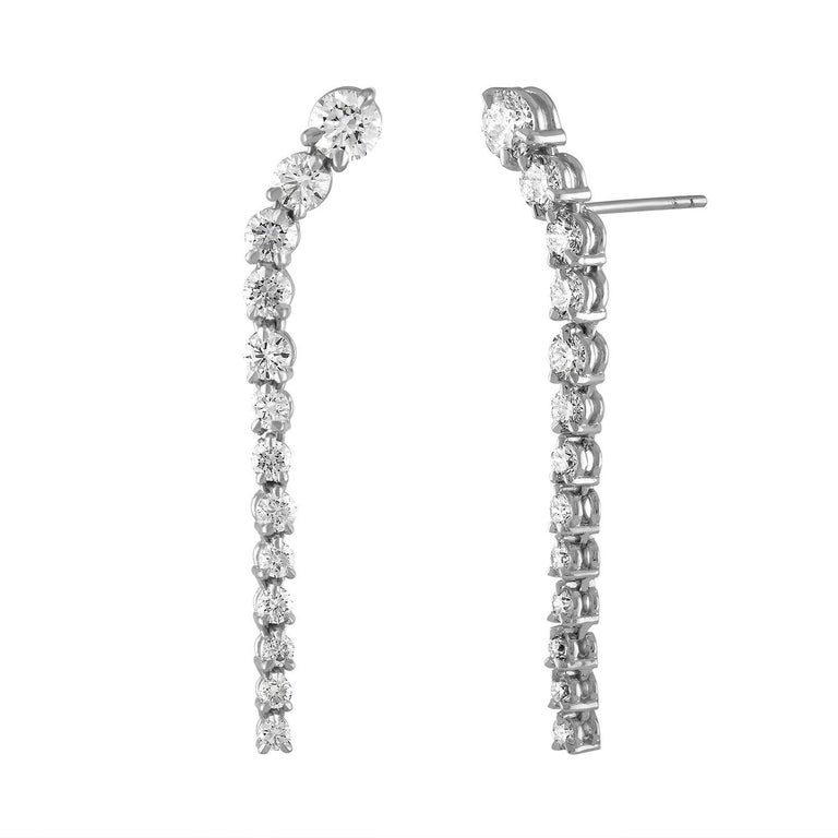 Handmade 18 Karat White Gold and 2.27 Carat Graduating Diamond Earrings