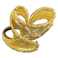 Handmade 18k Yellow Gold with Diamond Ring