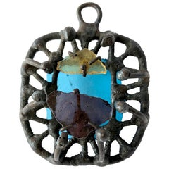 Handmade 1960s California Modernist Iron and Glass Pendant
