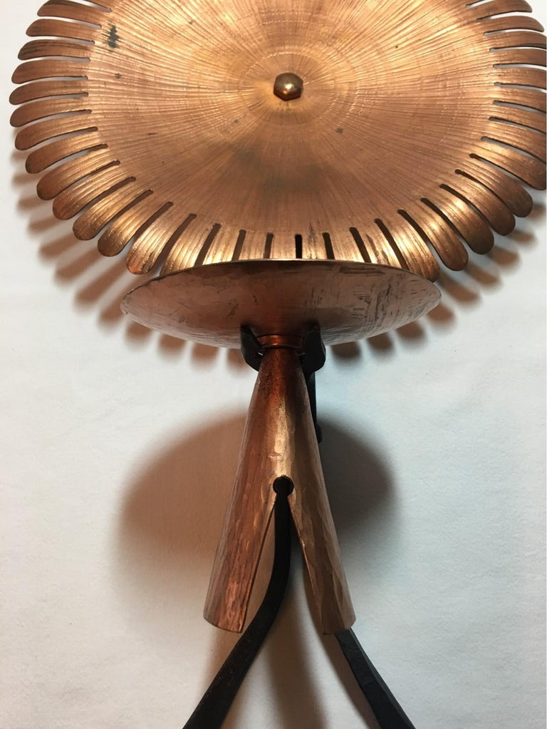 German Handmade 1960s Copper and Iron Flower Wall Candleholder For Sale