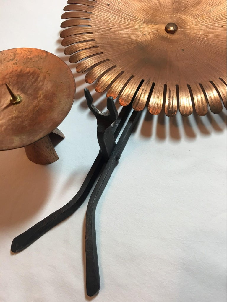 Handmade 1960s Copper and Iron Flower Wall Candleholder In Fair Condition For Sale In Frisco, TX
