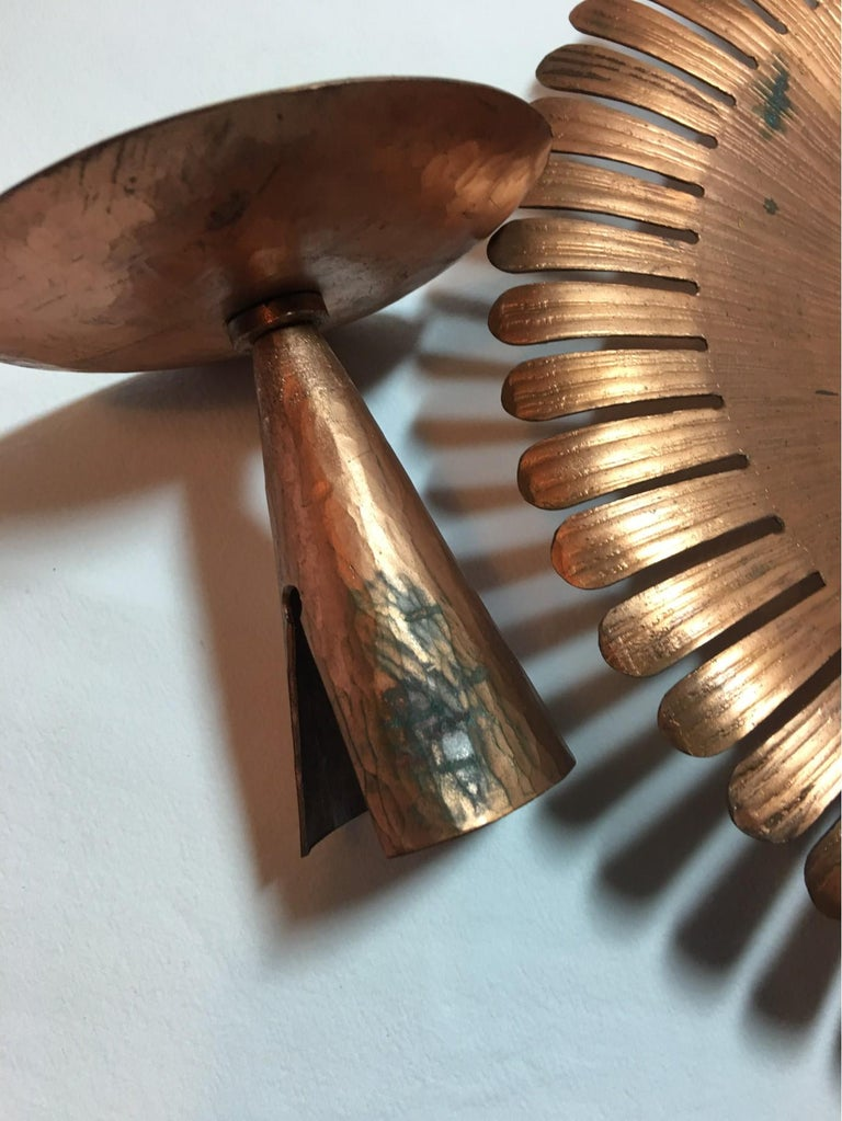 Mid-20th Century Handmade 1960s Copper and Iron Flower Wall Candleholder For Sale