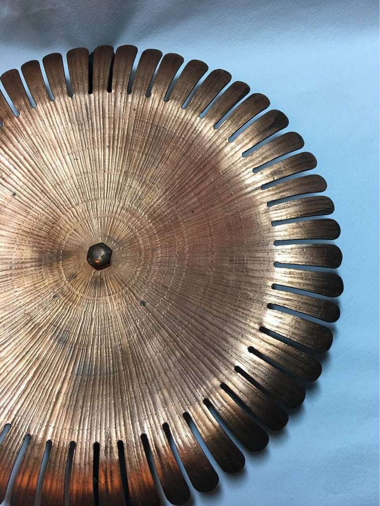 Handmade 1960s Copper and Iron Flower Wall Candleholder For Sale 2