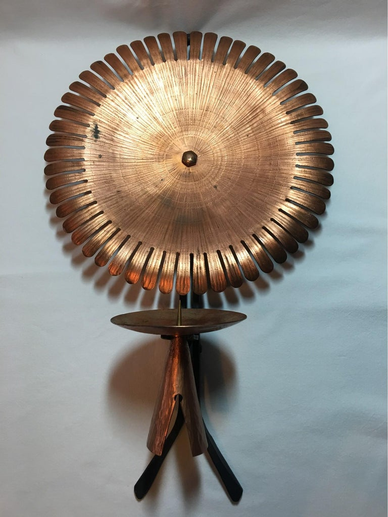 Handmade 1960s Copper and Iron Flower Wall Candleholder For Sale 3