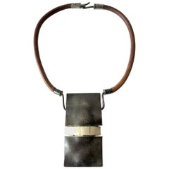 Handmade 1970s Organic Modernist Silver Pendant on Leather Hippie Necklace