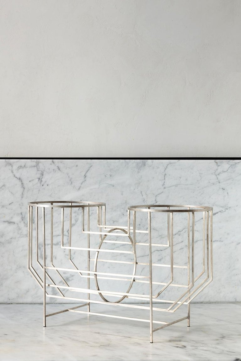 Italian Handmade 21st century brass or silver bathed OHO sculptural centrepiece For Sale