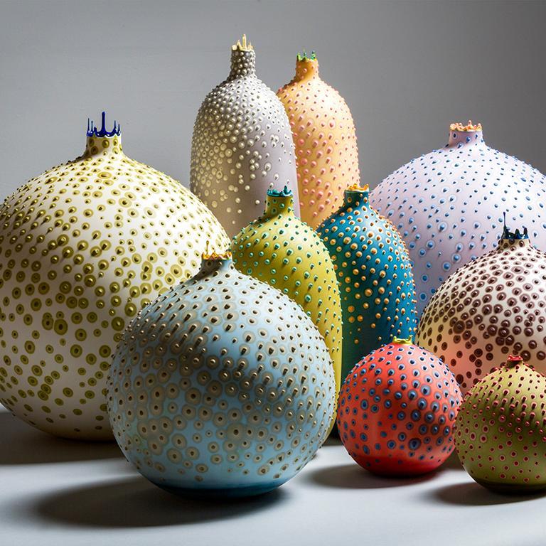 Organic Modern Handmade 21st Century Oblong Huxley Vase in Lichen Green by Elyse Graham For Sale