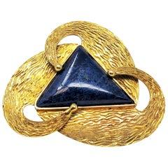 Handmade 27.5 Carat Triangular Natural Lapis Lazuli Brooch in 14 Karat Gold