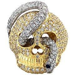 Handmade 4.95 Carat 18 Karat White & Yellow Golden Diamond Snake and Skull Ring