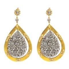Handmade 6.8 Carat Rose Cut Diamonds Earrings 18 Karat Yellow Gold