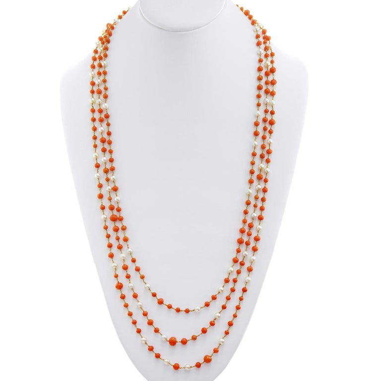 Handmade 91 Inch Coral And Pearl Gold Necklace For Sale At