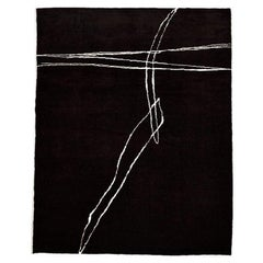 Handmade Abstract Black and White Abstract Rug