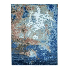 Handmade Abstract Design Wool and Silk Multi-Colored Oriental Rug