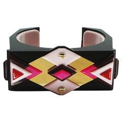 Handmade Acrylic Bracelet Kuntur/ Pink
