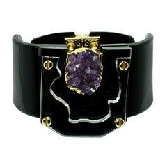 Handmade Acrylic Bracelet Relief Amethyst / Black