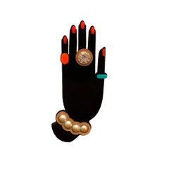 Handmade Acrylic Brooch Hand Black