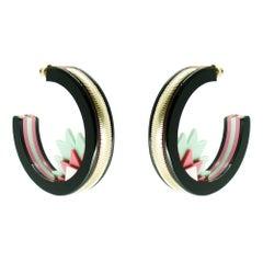 Handmade Acrylic Earring Hoops Kuntur / Green