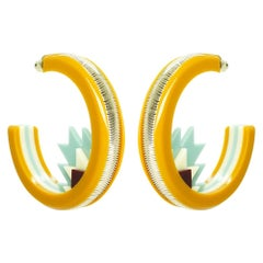 Handmade Acrylic Earring Hoops Kuntur / Mustard