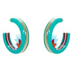 Handmade Acrylic Earring Hoops Kuntur / Turquoise Green