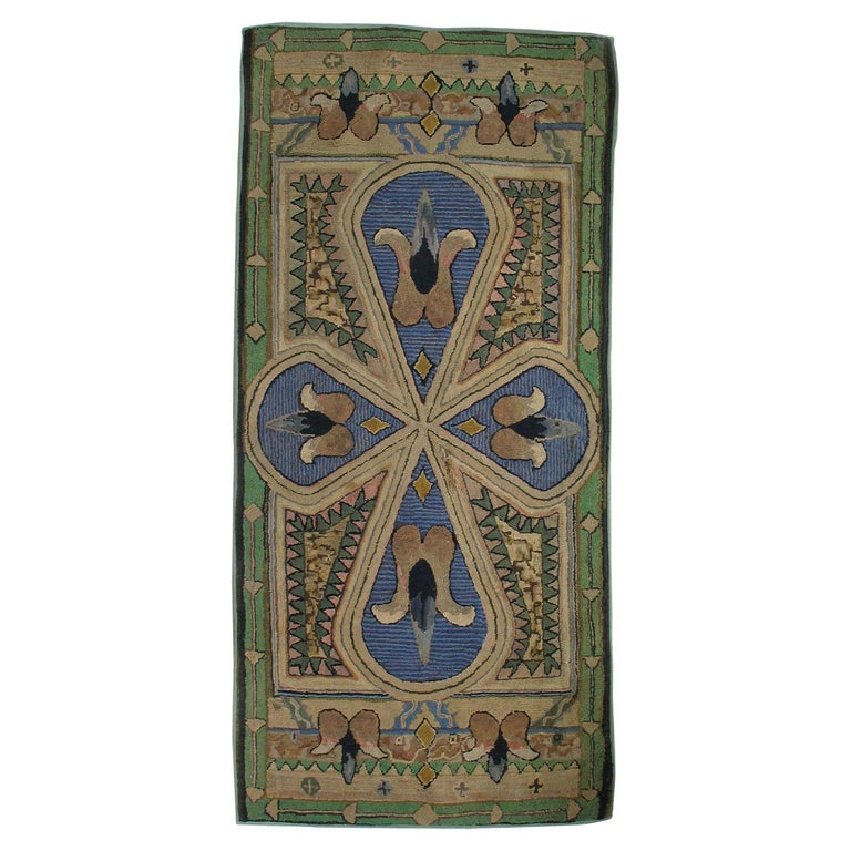 Antique Arts And Crafts Rugs: Handmade American Antique Arts And Crafts Hooked Rug