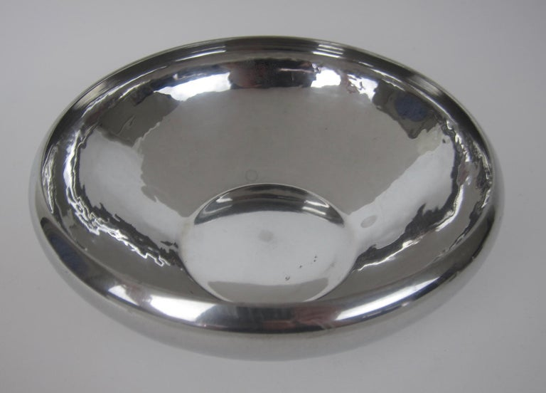 American Arts & Crafts Hammered Pewter Bowl by Porter Blanchard For Sale 5
