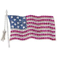Handmade American Flag Brooch with Cubic Zirconia Gem Set