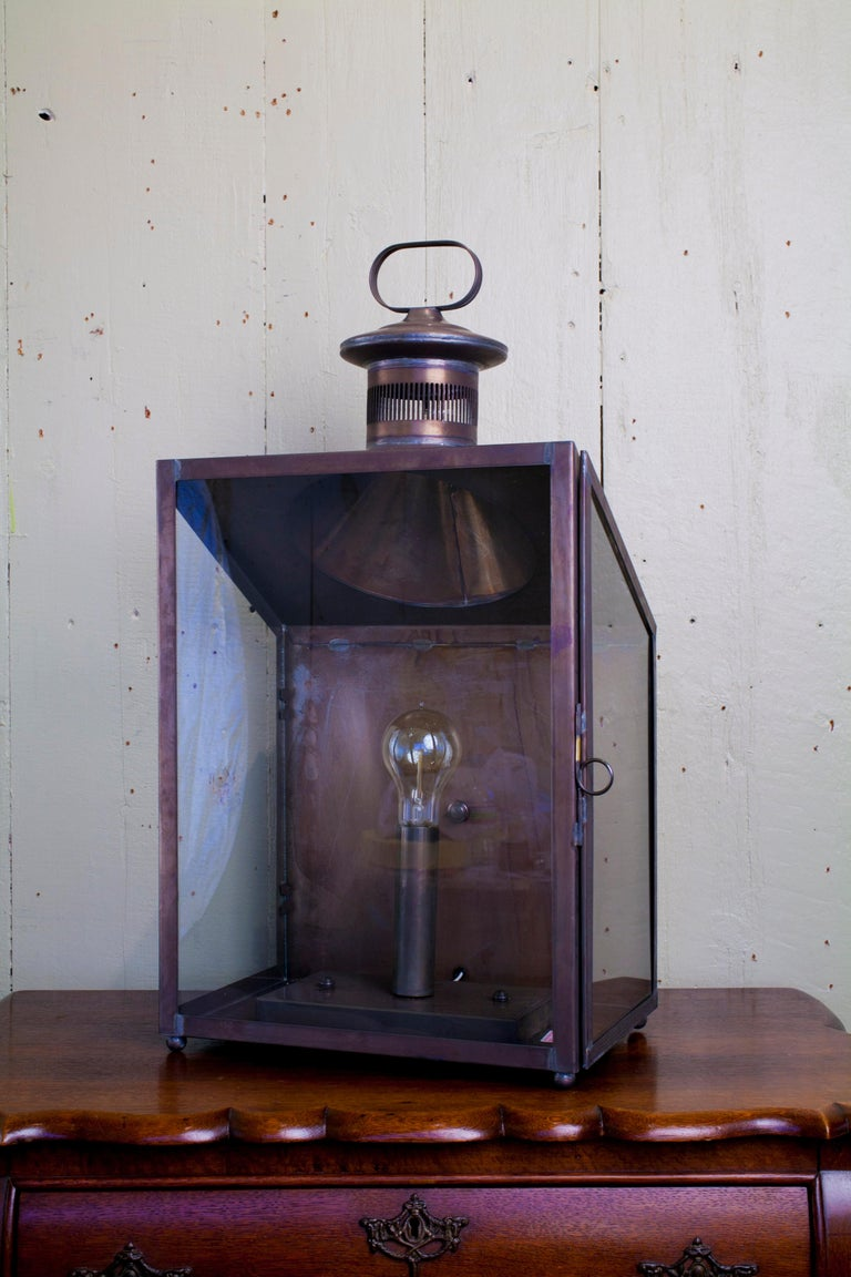 Hand-Crafted Handmade American Indoor/Outdoor 'Calhoun' Wall Lantern For Sale