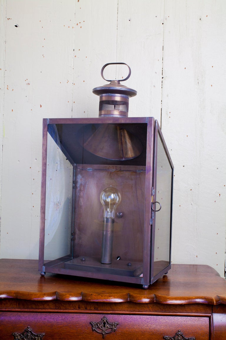 Handmade American Indoor/Outdoor 'Calhoun' Wall Lantern In Excellent Condition For Sale In Houston, TX