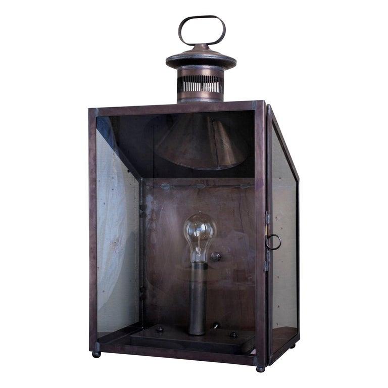 Handmade American Indoor/Outdoor 'Calhoun' Wall Lantern For Sale
