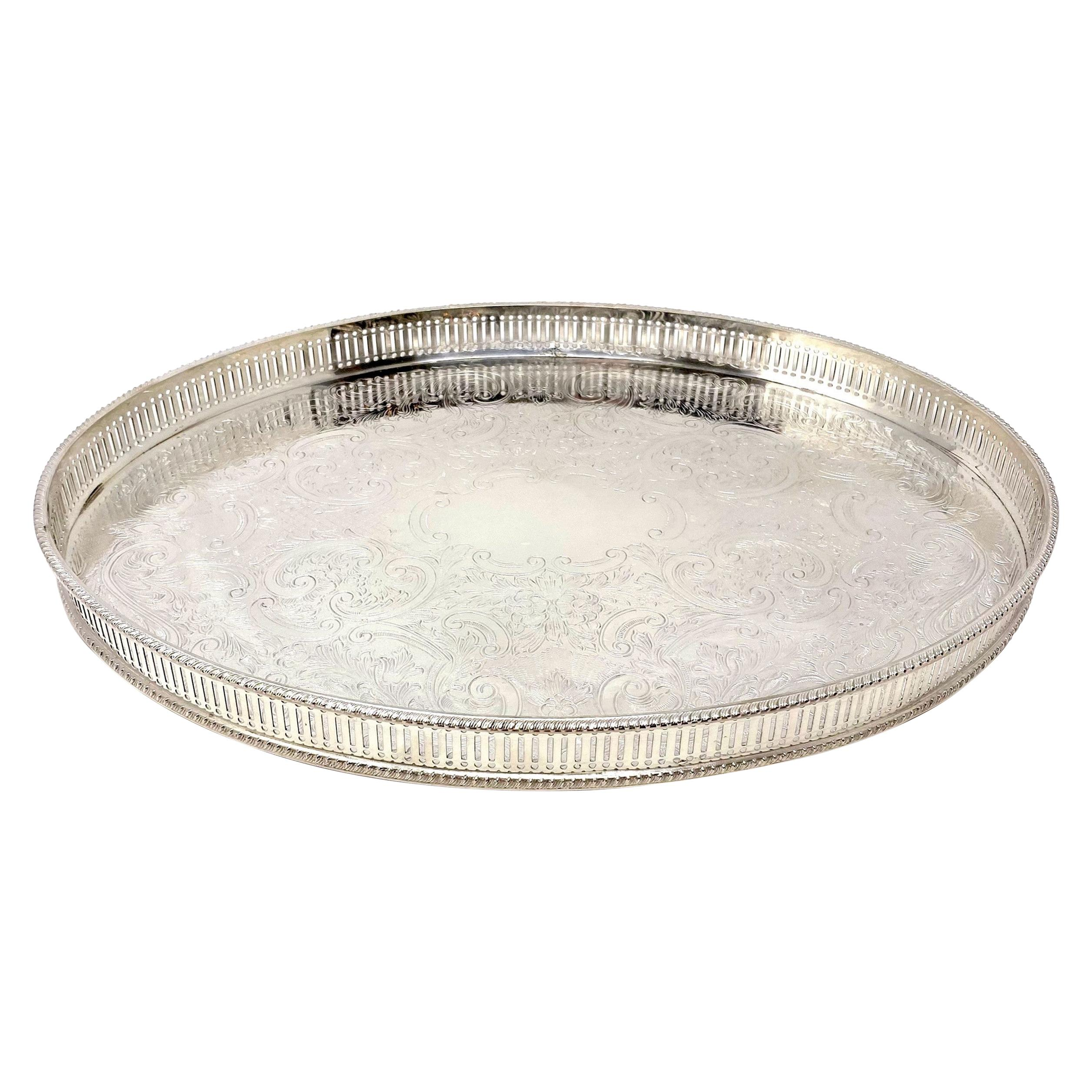 Handmade and Engraved English Silver Plated Footed Oval Tray with Gallery