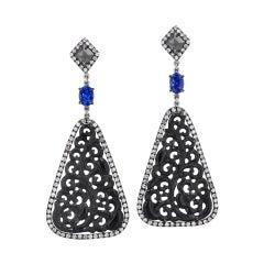 Handmade Anthrcite Jadeite Diamond Slices with Tanzanite Drop Earrings