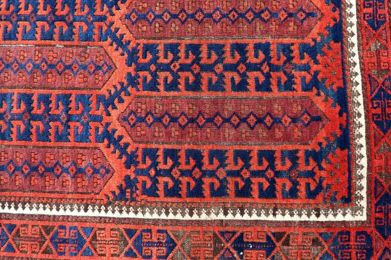 Hand-Knotted Handmade Antique Afghan Baluch Rug, 1900s, 1P29 For Sale