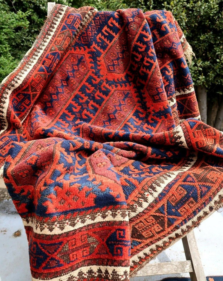 Handmade Antique Afghan Baluch Rug, 1900s, 1P29 In Fair Condition For Sale In Bordeaux, FR